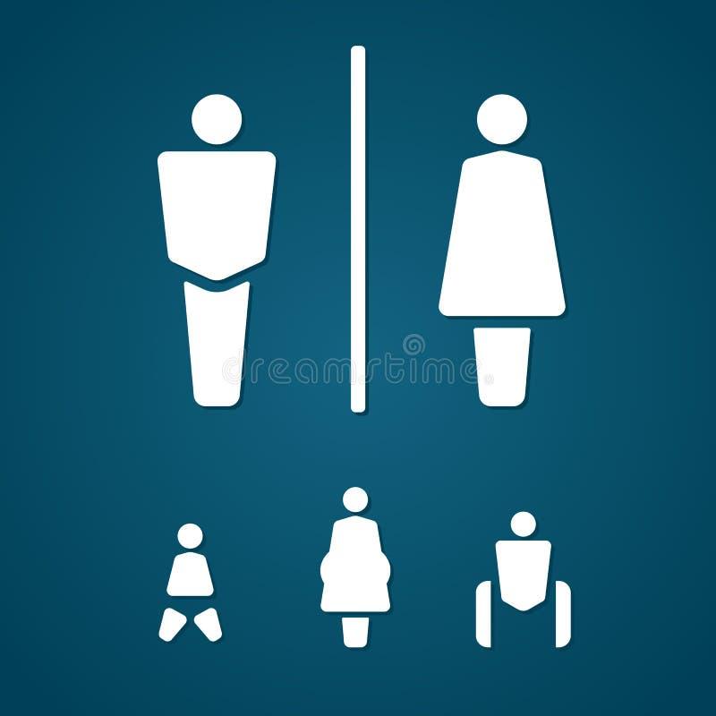 休息室男女怀孕的跛子和婴孩标志 库存例证