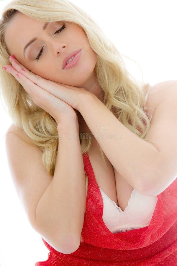 休息的女孩的画象睡觉或 库存照片