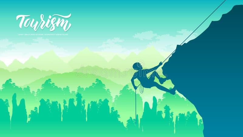 休息的攀岩运动员,当攀登伸出时 皇族释放例证