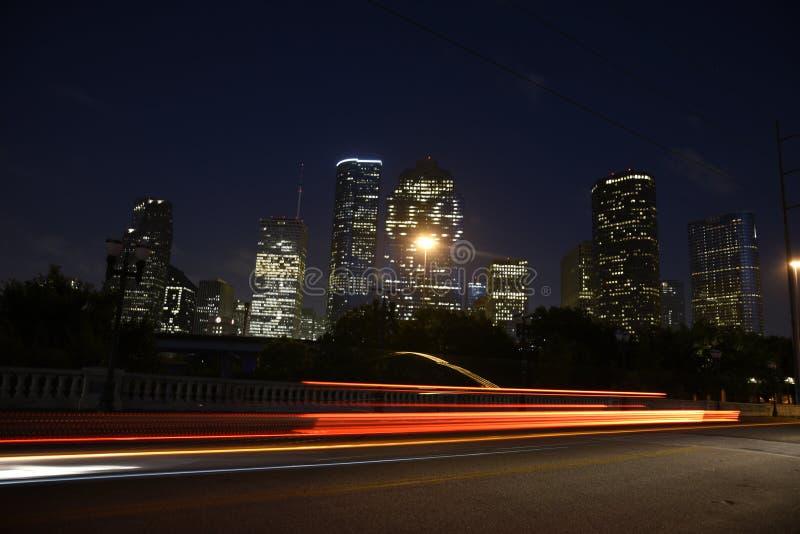 休斯敦晚上地平线 免版税库存照片