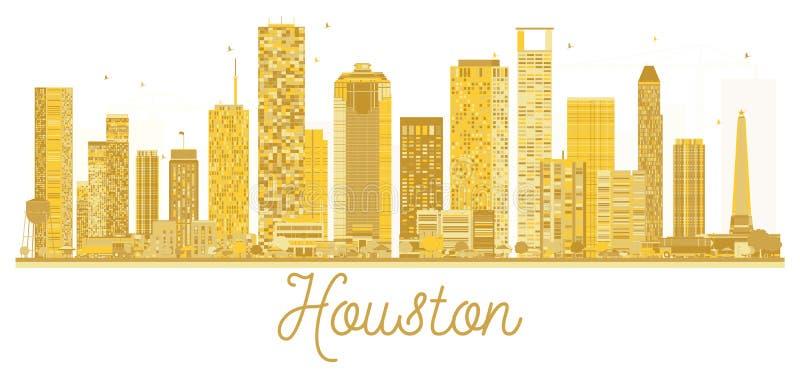 休斯敦美国市地平线金黄剪影 库存例证