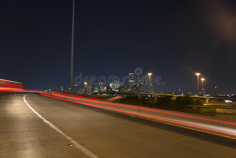 休斯敦街市从高速公路10 免版税库存图片