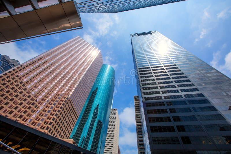 休斯敦街市摩天大楼disctict蓝天镜子 库存图片