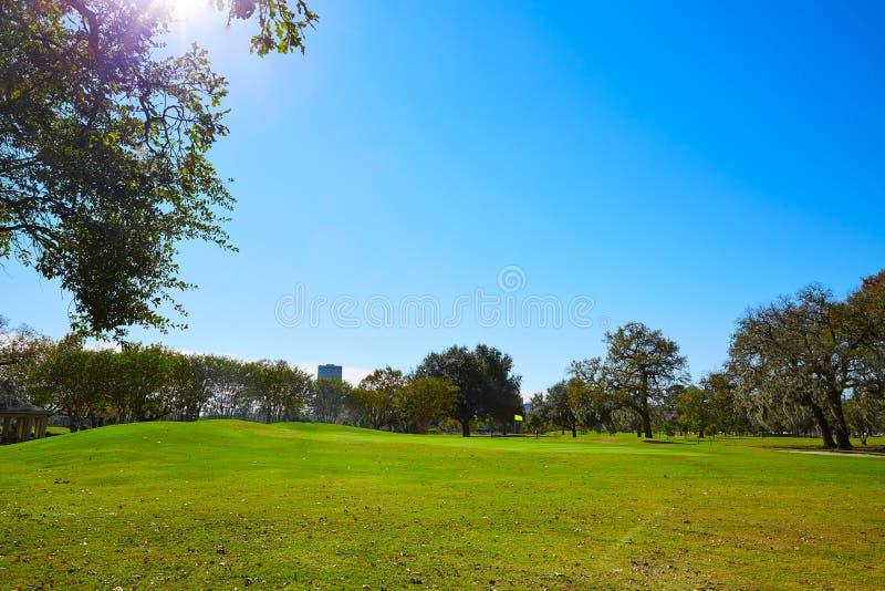 休斯敦赫尔曼公园管理草 免版税库存照片
