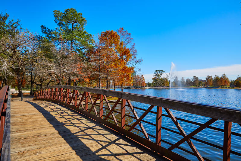 休斯敦赫尔曼公园Mcgovern湖 免版税库存图片