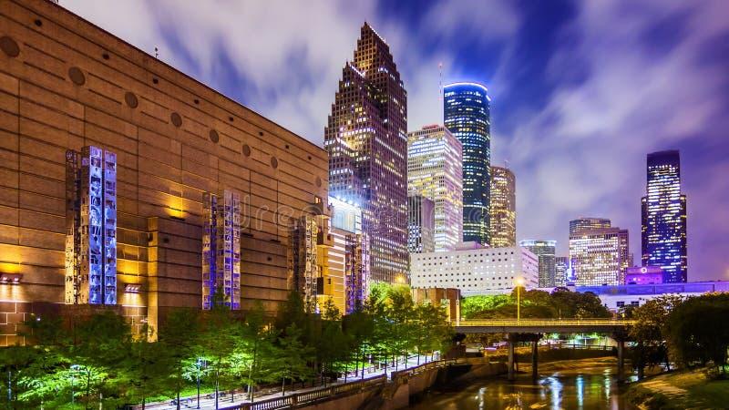 休斯敦,得克萨斯街市地平线在晚上 免版税图库摄影