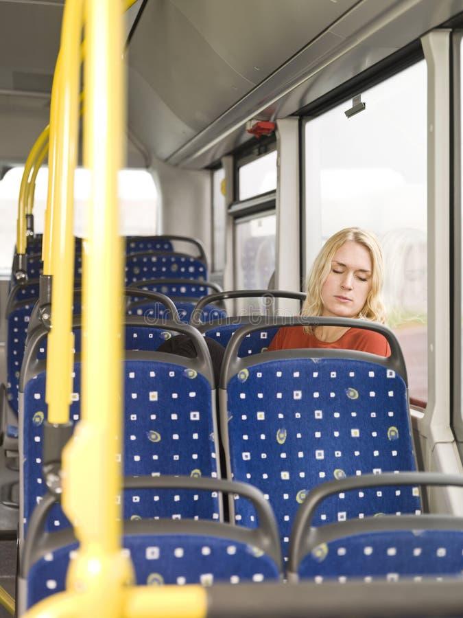 休眠在公共汽车 库存照片