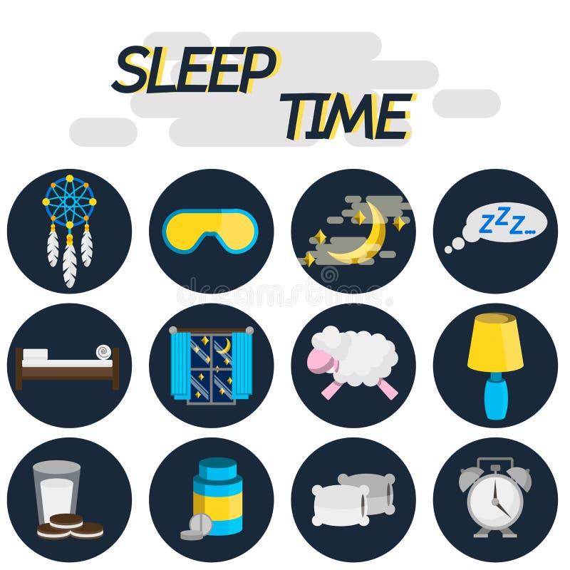 休眠时间平的象集合 向量例证