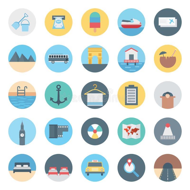 休闲、旅行和游览被隔绝的传染媒介象包括与撤退、公共汽车、椰子、海滩、出租汽车、票、飞机和山, 库存例证