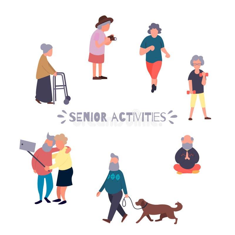 休闲和休闲资深活动概念 小组活跃老人 老人传染媒介背景 动画片 库存例证