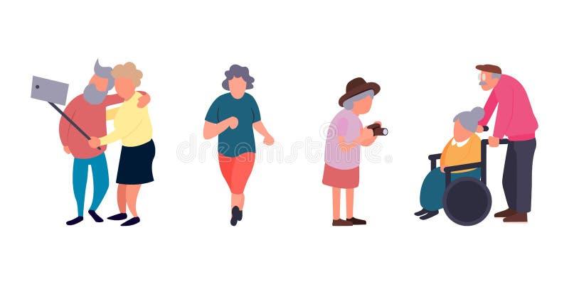 休闲和休闲资深活动概念 小组活跃老人 老人背景 动画片老人 皇族释放例证