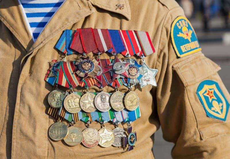 众多的军事奖和奖牌 库存图片