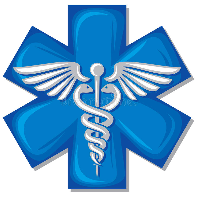 众神使者的手杖医疗符号 向量例证