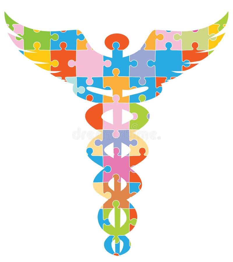 众神使者的手杖医疗难题符号 库存例证