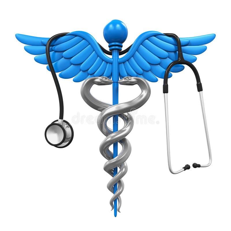 众神使者的手杖标志和听诊器 库存例证