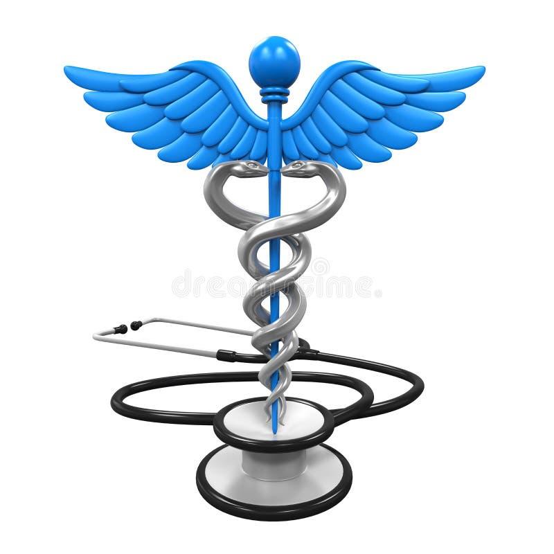 众神使者的手杖标志和听诊器 向量例证