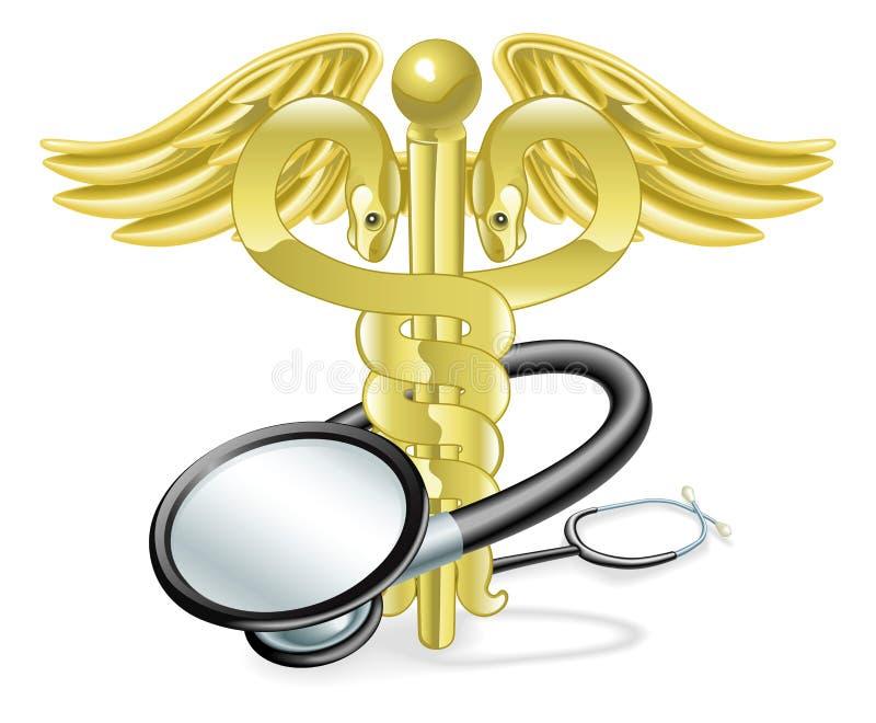 众神使者的手杖概念医疗听诊器 皇族释放例证