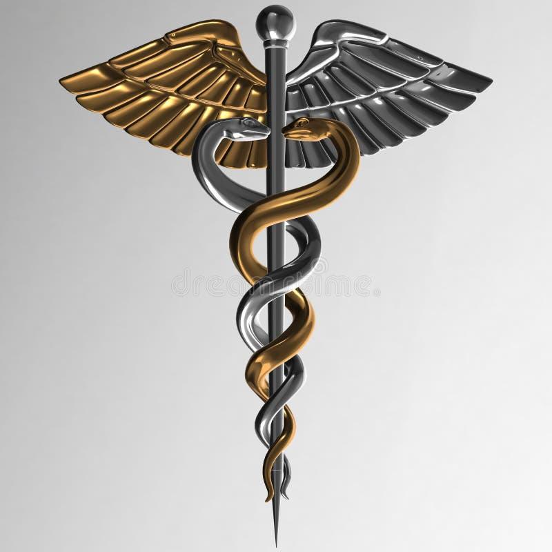 众神使者的手杖-医疗标志, 3d回报 皇族释放例证