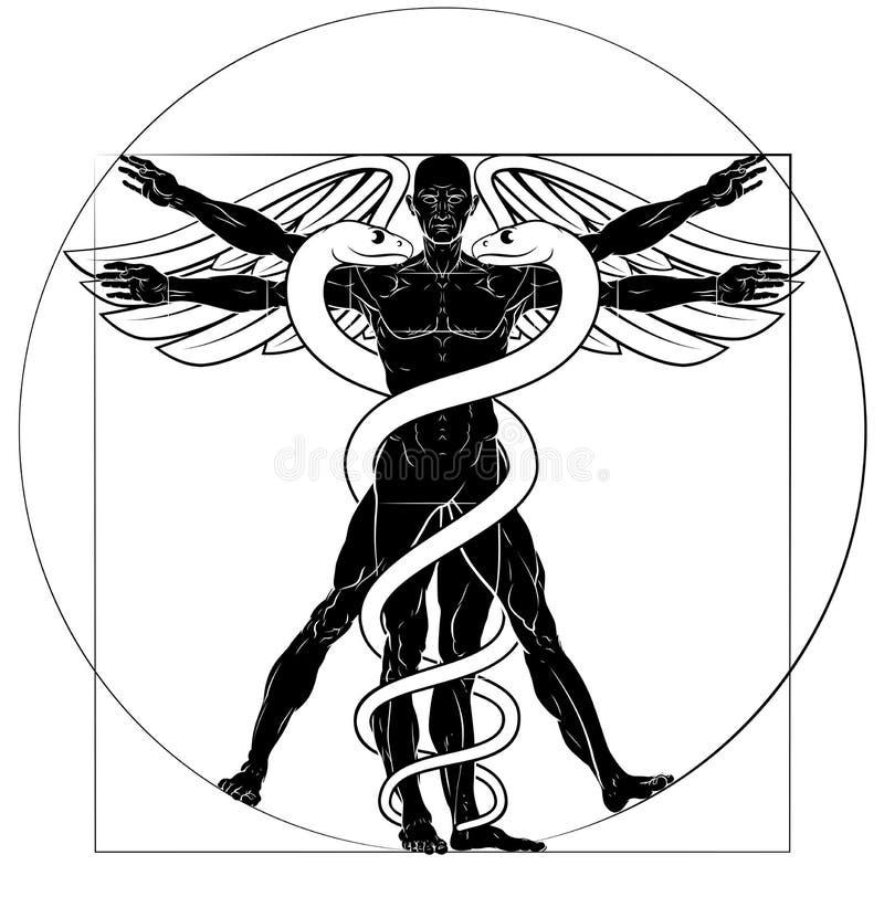 众神使者的手杖Vitruvian人 向量例证