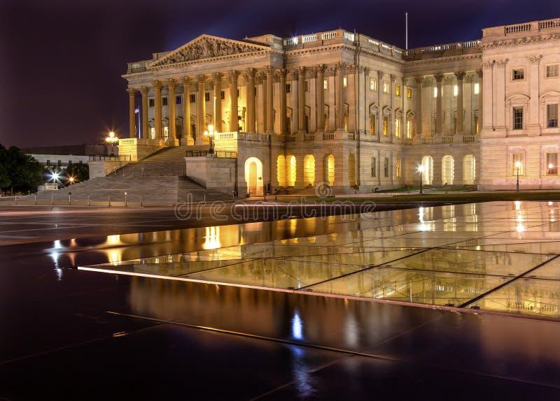 众议院美国国会大厦夜华盛顿特区 免版税库存照片
