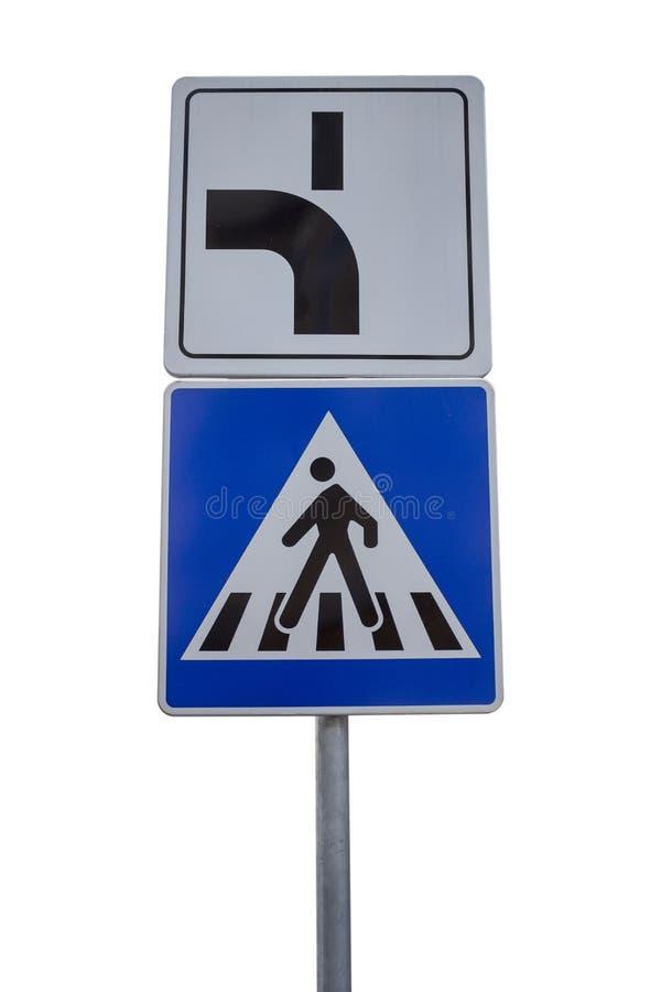 优先权r的行人交叉路和方向的交通标志 库存照片