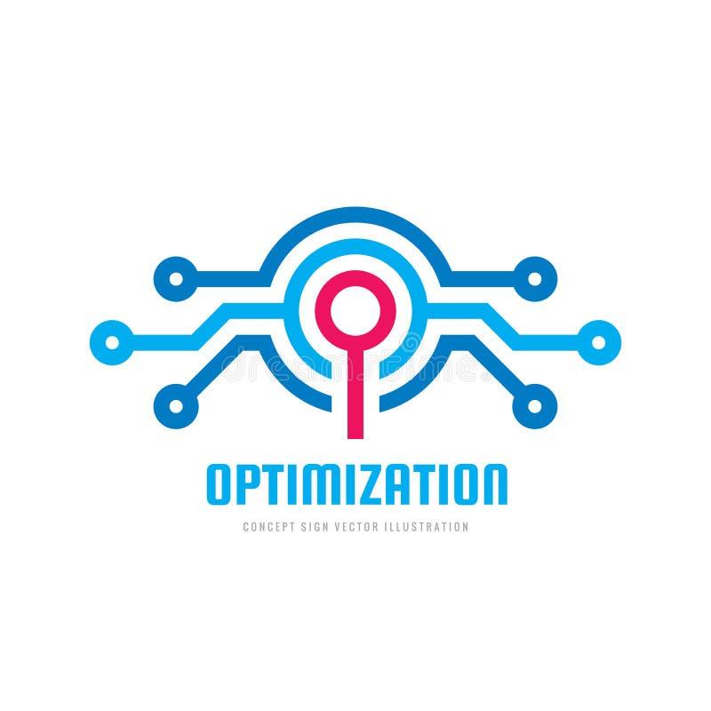 优化-概念企业商标模板传染媒介例证 电子网络和放大器透镜标志 技术标志 向量例证