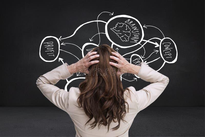 年轻优等的女实业家的综合图象用在站立回到照相机的头的手 免版税库存图片