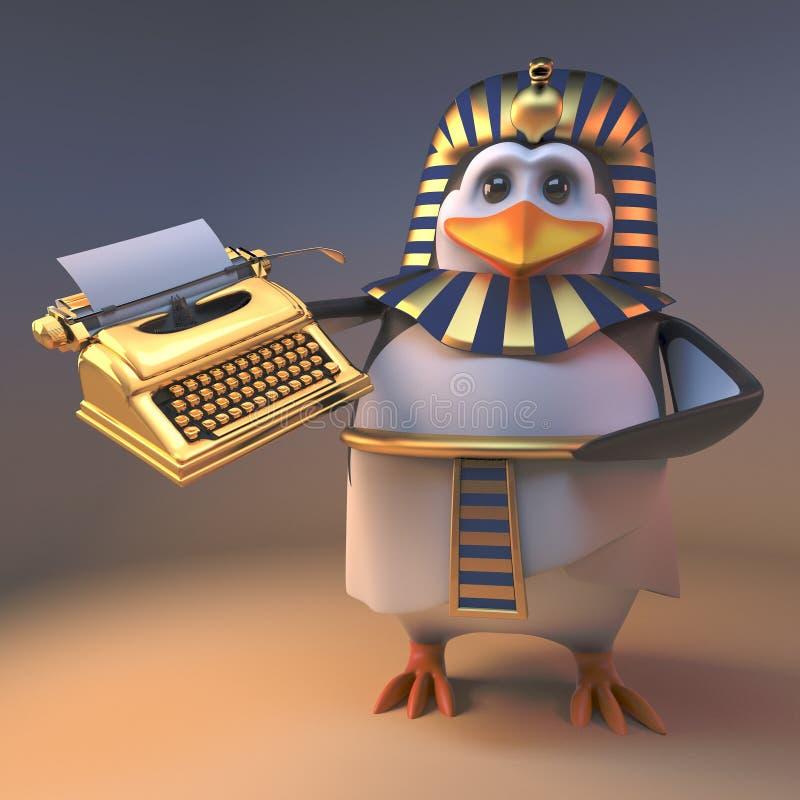 优美的企鹅法老王拿着一台金黄打字机,3d的Tutankhamun例证 库存例证
