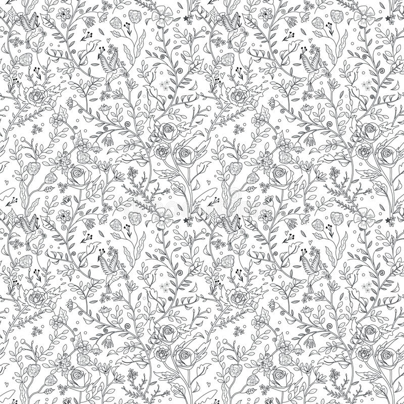 优美的无缝的花卉样式着色页 库存例证