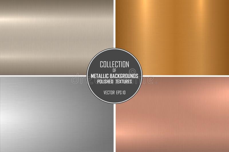 优美的金属光滑的纹理的典雅的传染媒介收藏 颜色梯度铁背景 发光的掠过的设计 库存例证