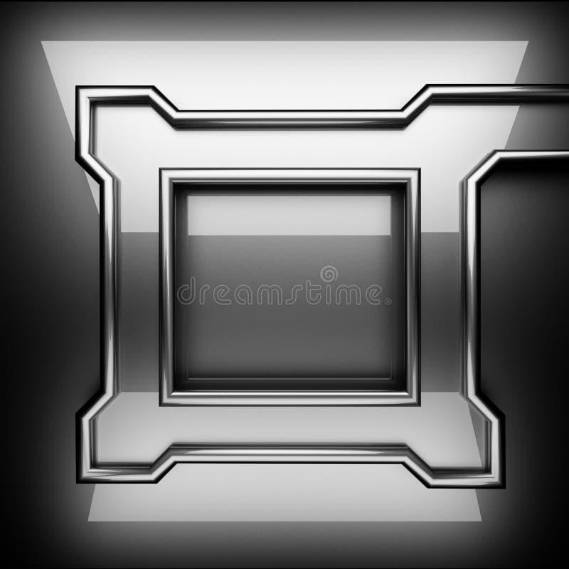 优美的金属背景 3d查出被回报的视频空白世界 向量例证