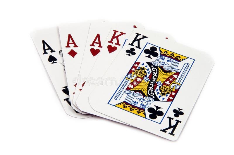 优胜突破三张相同和二张相同的牌 库存照片