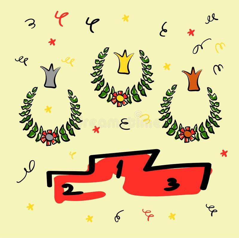 优胜者、冠和垫座的花圈 花和蛇纹石 仿照剪影样式的滑稽的图画 向量例证
