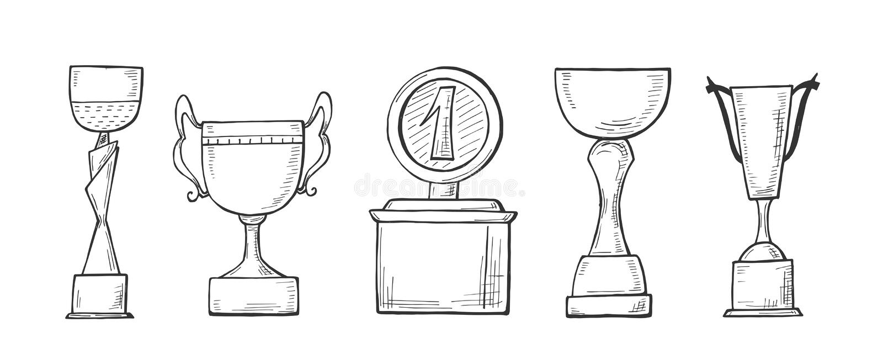 优胜者冠军杯子集合 皇族释放例证