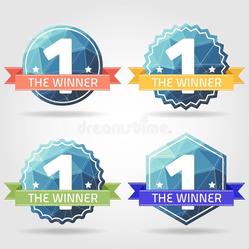 优胜者得奖的标签多角形 向量例证