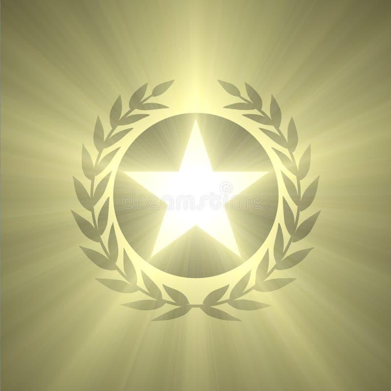 优胜者徽章星和橄榄叶子光飘动 库存例证