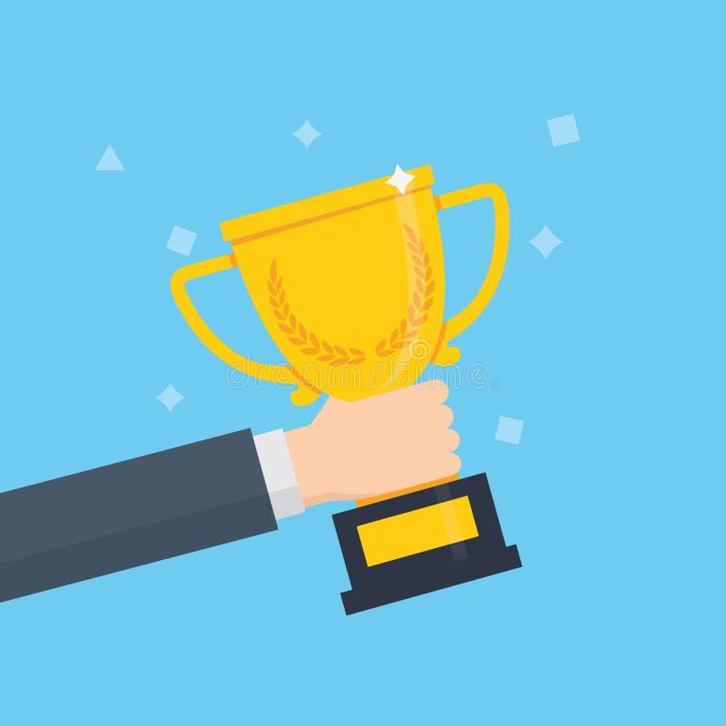 优胜者战利品奖 拿着优胜者` s战利品杯子的人们 向量例证