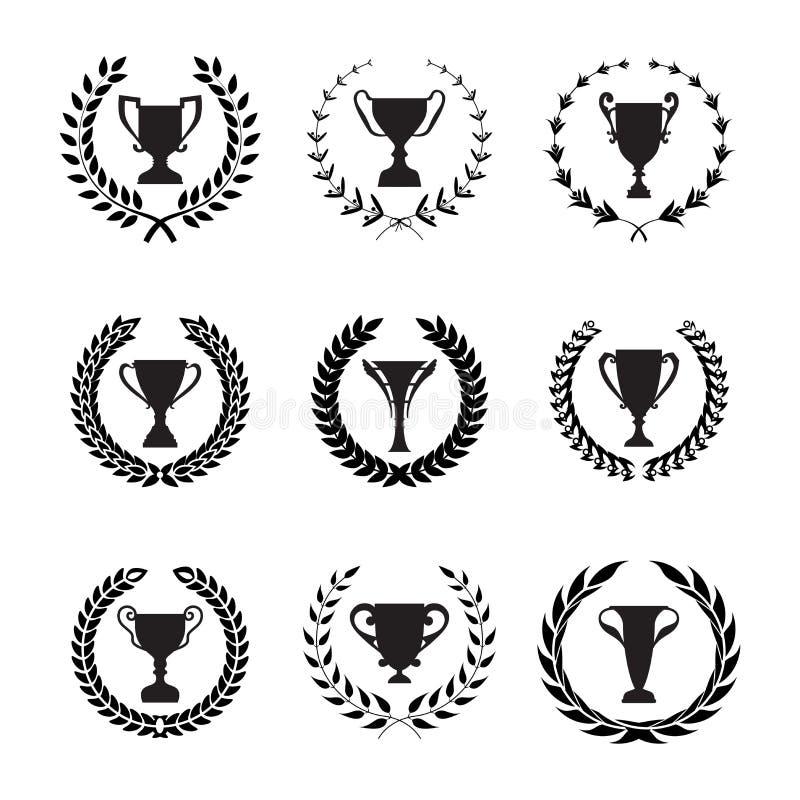 优胜者战利品杯剪影设置了与圆月桂树叶  向量例证