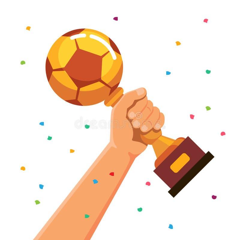 优胜者拿着足球杯子战利品的队员 库存例证