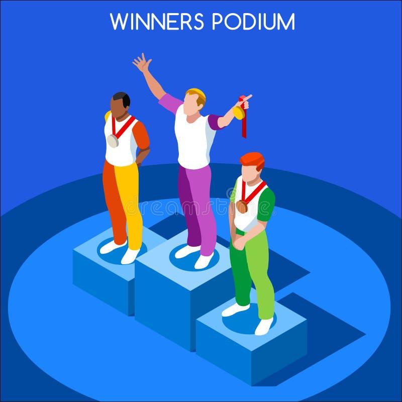 优胜者指挥台夏天比赛等量3D传染媒介例证 向量例证