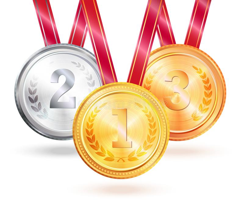 优胜者挑战传染媒介例证的奖牌 库存例证