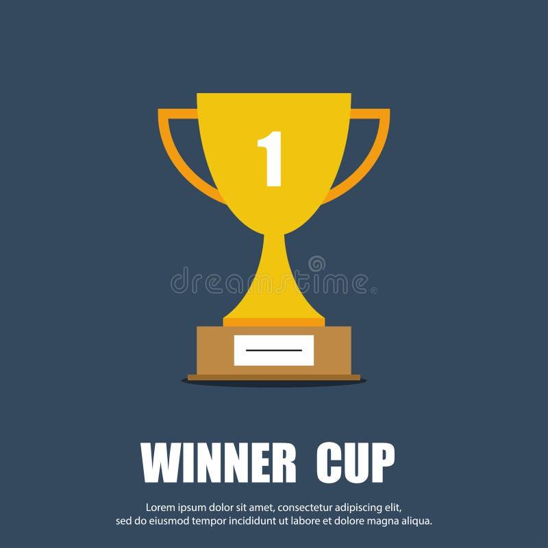 优胜者杯子平的标志 战利品杯子象 向量例证