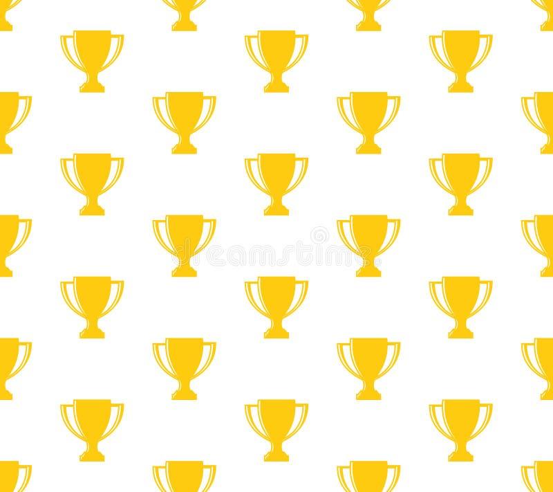 优胜者杯子战利品无缝的样式背景金黄在白色 皇族释放例证