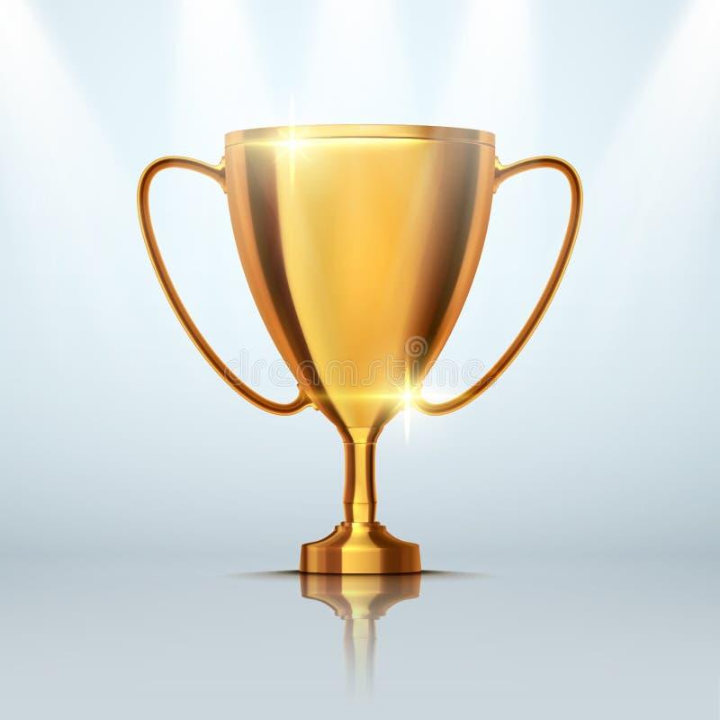 优胜者杯子 在灰色背景的金黄战利品 向量 库存例证