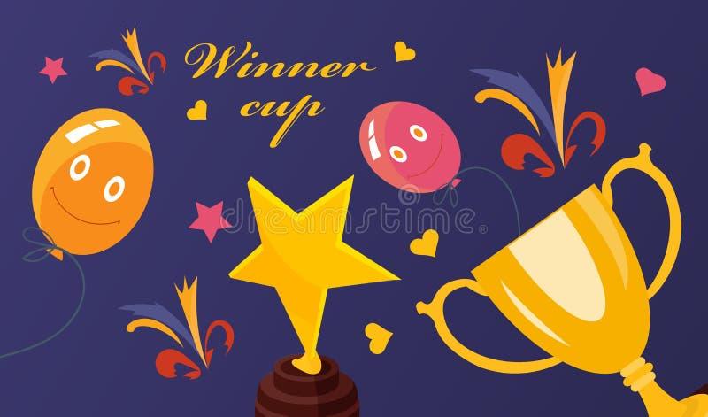 优胜者杯子 金,铜牌和杯子 金属碗,奖 皇族释放例证