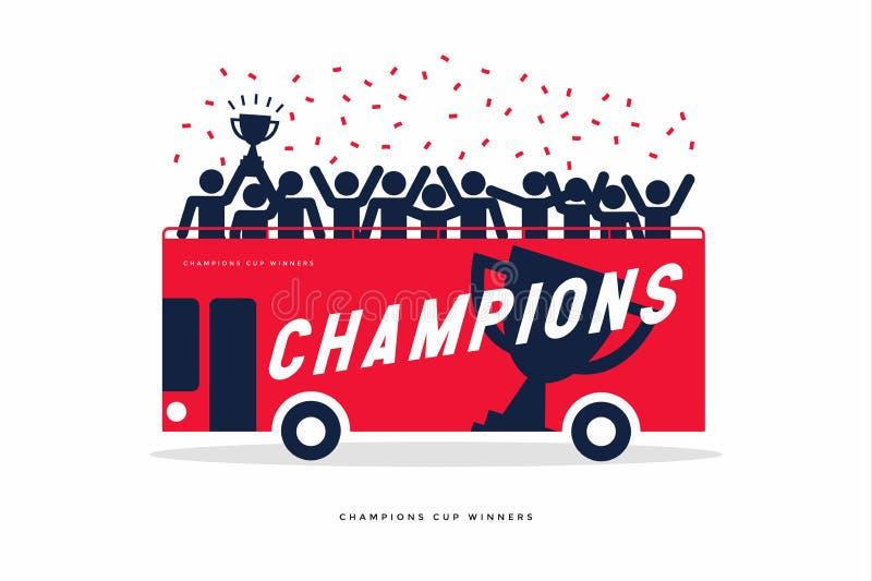 优胜者杯足球或橄榄球冠军庆祝的棍子形象在露天公共汽车 库存例证