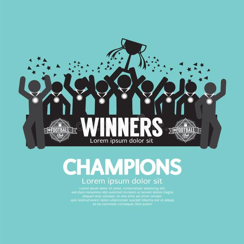 优胜者杯足球或橄榄球冠军 库存例证