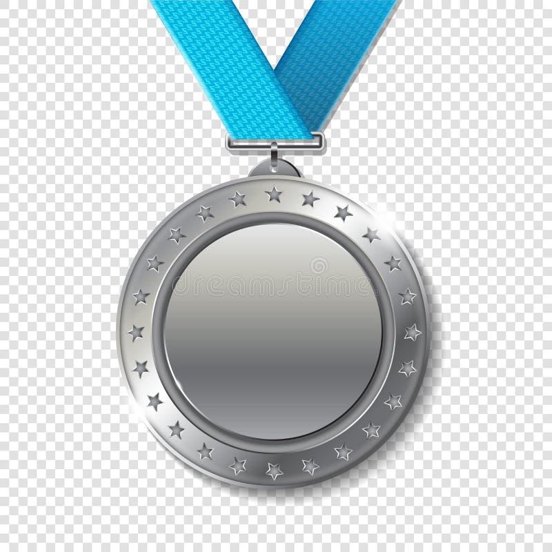 优胜者的现实3d银战利品冠军奖奖牌 向量例证