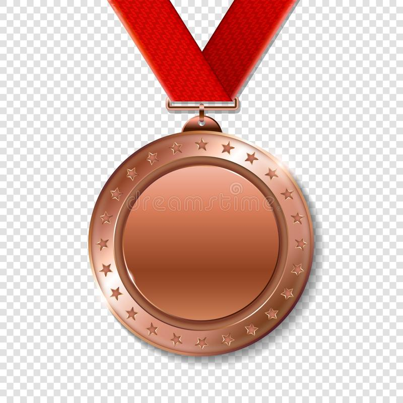 优胜者的现实3d bronz战利品冠军奖奖牌 向量例证