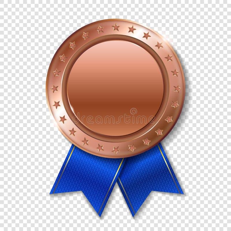 优胜者的现实3d bronz战利品冠军奖奖牌 皇族释放例证